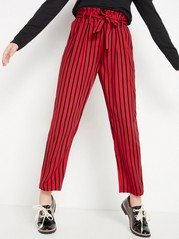 Vid, stripet bukse med paperbag-midje Rød