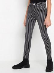 Stripet bukse med smal passform Svart