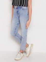 Narrow fit high waist jeans Blå