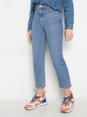 Wide fit high waist cropped jeans Blå