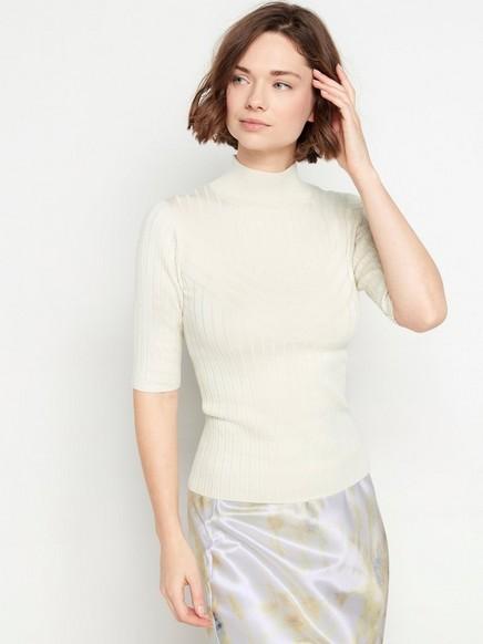 Ribbstickad kortärmad tröja Beige