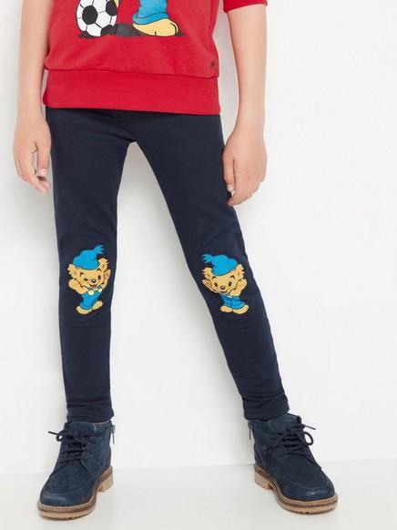 Marineblå leggings med Bamse-knelapper Blå