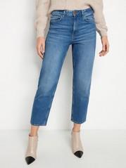 NEA Croppade raka high waist-jeans Blå