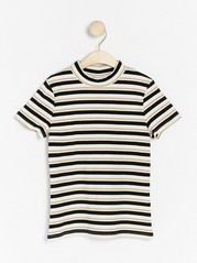 Striped ribbed top with mock neck White