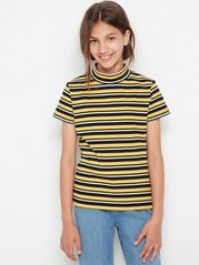 Striped ribbed top with mock neck Yellow