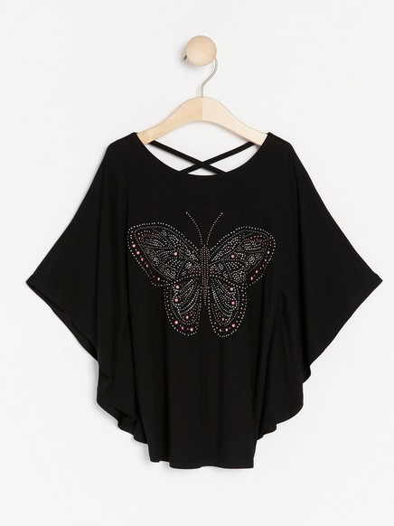 Black poncho top with butterfly Black