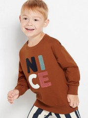 Overdimensjonert brun genser med applikasjonsbroderi i frotté Brun