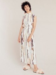 Patterned short sleeve dress  Beige