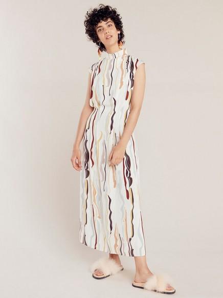 Mønstret, kortermet kjole Beige