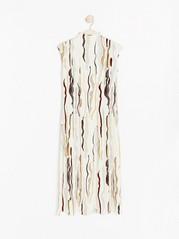 Kuvioitu lyhythihainen mekko Beige