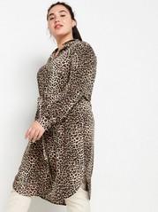 Leopardmønstret skjortekjole med knytebelte Hvit