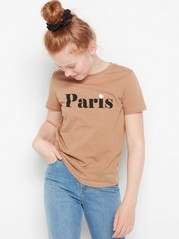 Short sleeve t-shirt with print Beige