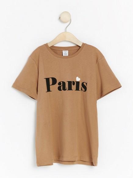 Lyhythihainen t-paita, jossa painatus Beige