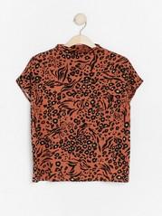 Kuvioitu pusero, jossa matala kaulus Oranssi