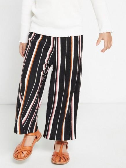 Culotte-housut, joissa pintakuviointi Musta