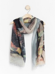 Wool scarf with print Grey