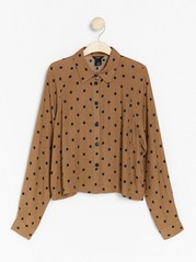 Dotted long sleeve blouse  Brown