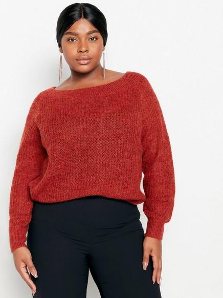 Glitrende strikkegenser Rød