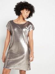 Kortärmad paljettklänning Metallic