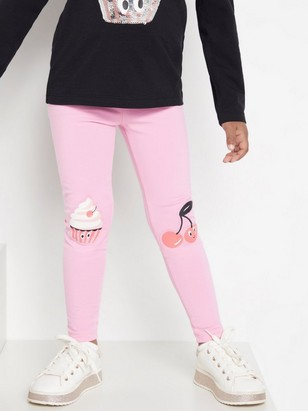 Pink leggings with cupcake and cherry Pink