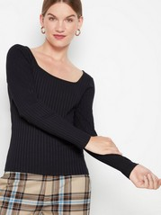 Ribbed top with square neckline Black
