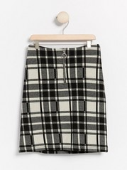 Checkered jersey skirt  Black