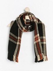 Checked knitted scarf Black