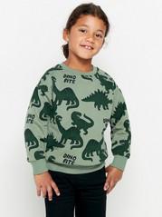 Väljä vihreä collegepusero, jossa dinosauruspainatus Khaki