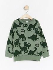 Overdimensjonert, grønn genser med dinosaurtrykk Kaki