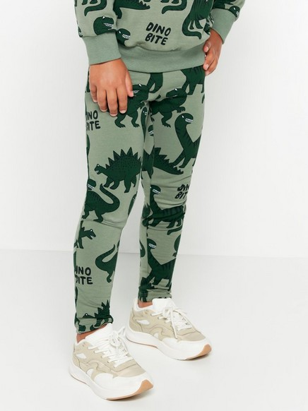 Grønn leggings med dinosaurtrykk og børstet innside Kaki