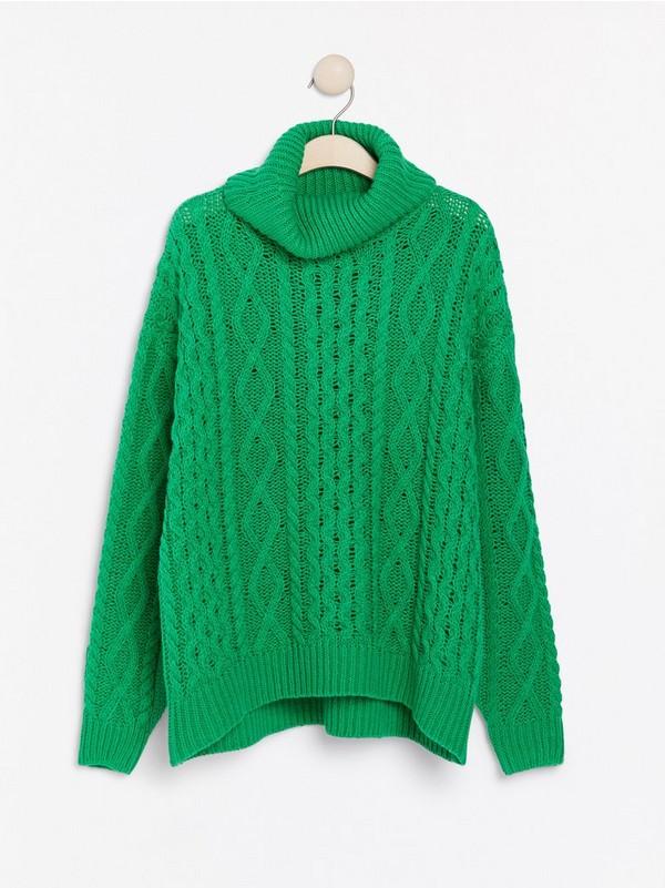 Grön Kabelstickad polotröja 399: | Lindex