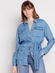 Jeansjacka i lyocell med knytskärp Blå