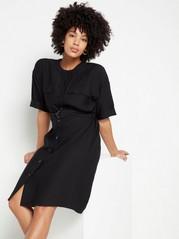 Black short sleeve shirt dress Black