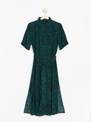 Pitkä, kuvioitu mekko, jossa on solmittava nauha Vihreä