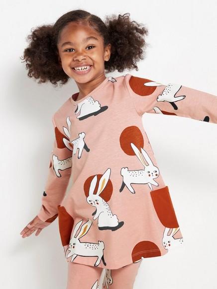 Langermet jerseyoverdel med kaniner Rosa