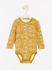 Floral patterned long sleeve bodysuit Yellow