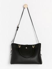 Stor svart väska med guldfärgade detaljer  Svart