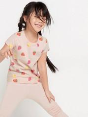 Kuvioitu lyhythihainen pusero Vaaleanpunainen
