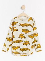 Oversized long sleeve top with crocodile print Yellow