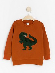 Oversized dark orange sweatshirt with terry dinosaur Orange