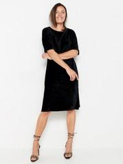 Kortärmad svart sammetsklänning Svart