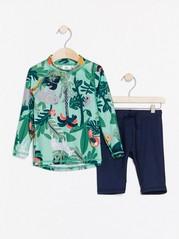 Pitkähihainen pusero ja shortsit, joissa UPF 50+ -suojaus Aqua