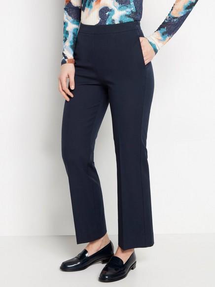 High waist-byxa med croppat ben Blå