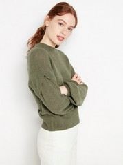 Khakigrön stickad tröja Grön