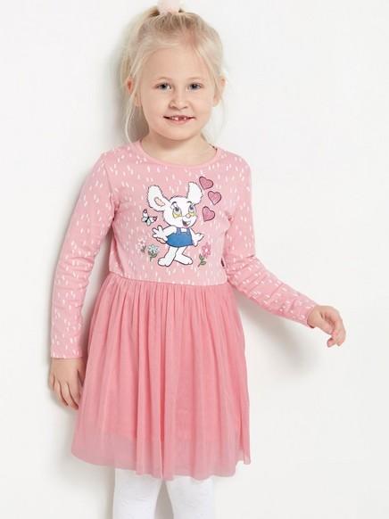 Vaaleanpunainen mekko, jossa Bamse-painatus ja tyllihame Vaaleanpunainen