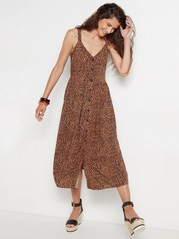 Viscose dress with buttons  Brown