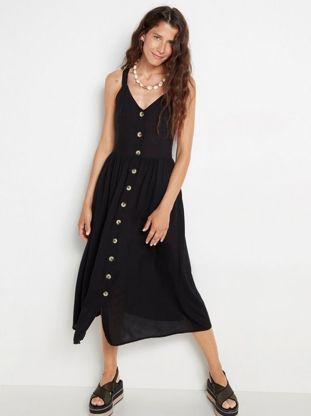 Viskózové šaty sknoflíky Černá