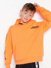 Neonfarget hettegenser med trykk Oransje