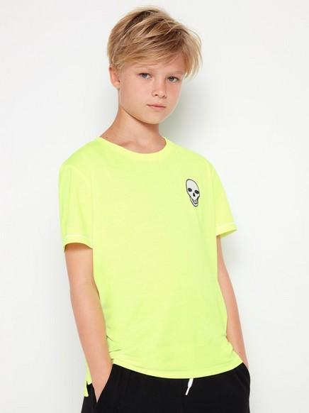 Neongul t-shirt med dödskalle-applikation Gul