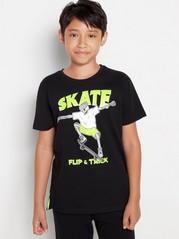 Tričko smotivem skateboardu Černá